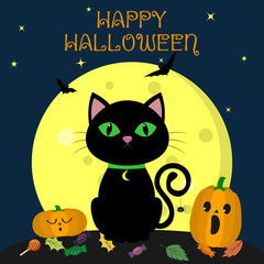 The Halloween black cat sits against the full moon at night. Nearby are two pumpkins, sweets and leaves, volatile vampires and stars. Autumn holiday.