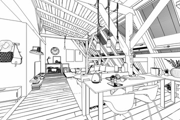 My place under the roof 03 (drawing)