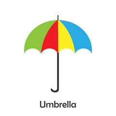Umbrella in cartoon style, card with fruit for kid, preschool activity for children, vector illustration