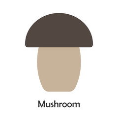 Mushroom in cartoon style, card with fruit for kid, preschool activity for children, vector illustration