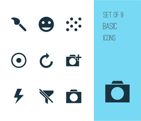 Picture icons set with filtration, pattern, tag face and other flash