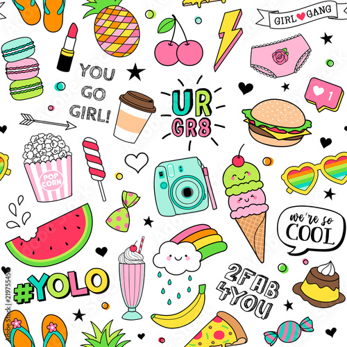 "Wallpaper For Tween Girls: ""Cute Fun Doodles Seamless Pattern On White Background For"