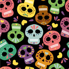 Mexican vector skulls for day of the dead. Dia de los muertos. Illustration for banner site card walpaper design