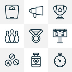 Activity icons line style set with pressure tracker, winner cup, bowling and other stopwatch  elements. Isolated vector illustration activity icons.