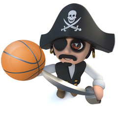 3d Funny cartoon pirate captain character holding a basketball ball