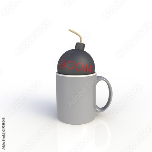 bomb in gray coffee cup isolated on white background mock up