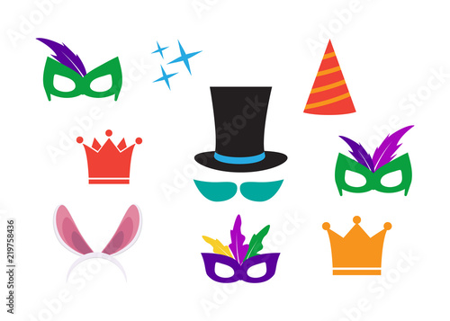 Party Birthday Photo Booth Props Hat And Mask Costume And Cylinder
