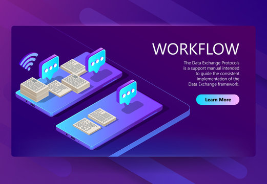 Vector 3d isometric site template with workflow. Internet page in violet color with buttons for smartphone, mobile device app. Analysis system, database. Modern technology for information exchange