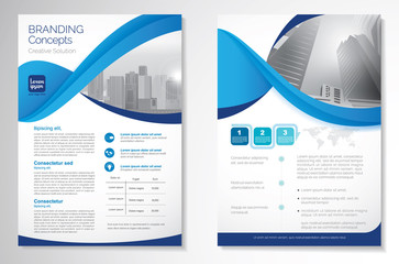 Template vector design for Brochure, Annual Report, Magazine, Poster, Corporate Presentation, Portfolio, Flyer, layout luxury with blue and blue color size A4, Front and back, Easy to use.
