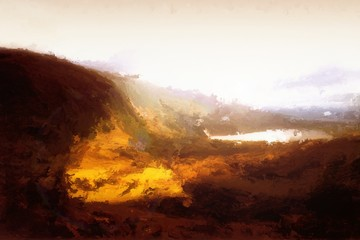 Poster Volcano Digital Painting of a Landscape
