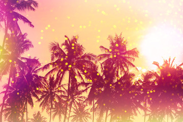 Palm sunset silhouettes stylized with light leaks and golden glitter