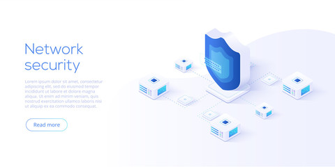 Network data security isometric vector illustration. Online server protection system concept with datacenter or blockchain. Secure bank transaction with password verification via internet.