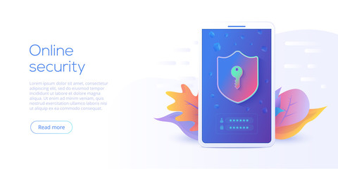 Mobile data security isometric vector illustration. Online protection system concept with smartphone and verification code filed. Secure transfer or transaction with password via internet.
