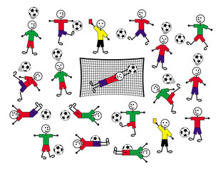 Composition of cartoon drawings of players and referees. Football and soccer.  Positive colorful background. Vector graphics.
