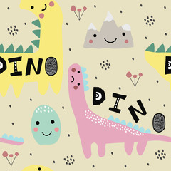Abstract childish pattern with dino, dinosaur. Nursery pattern. Kid illustration.