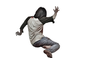 Rear view of zombie man crawling