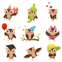Lovely little brown owlets set, cute bird cartoon character in different situations vector Illustration on a white background