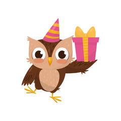 Lovely little owlet wearing party hat holding gift box, cute bird cartoon character vector Illustration on a white background