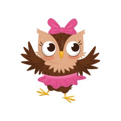 Lovely little owlet girl wearing pink skirt and bow, cute bird cartoon character vector Illustration on a white background