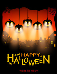 Halloween Design Pumpkins With Light From Eyes on City Background