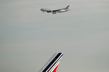 An Air France Airbus A330 airplane lands at the Charles-de-Gaulle airport in Roissy