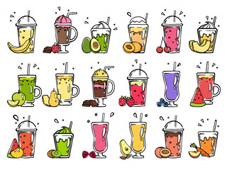 Smoothie hand drawn. Pictures of summer cocktails. Smoothie avocado, plum, banana and chocolate illustration