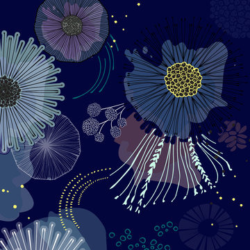 Magic bloom flowers blossom on navy background. Modern contrast abstract design for paper, cover, fabric, interior decor and other users. Dreaming fairytale fantasy design.