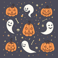Vector Halloween set with orange pumpkins, ghosts with scary faces, bones, skulls and candy corn in sketch style. Hand drawn autumn holiday collection on the starry background.