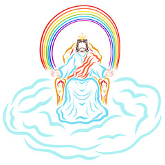 King Jesus sitting on the throne in the cloud under the rainbow