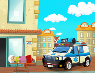 cartoon scene with ambulance and sick patient - illustration for children