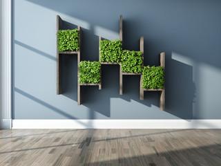 Decorative shelves and vertical garden