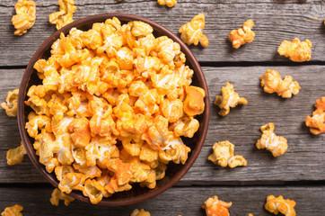 Yellow cheese popcorn in bowl
