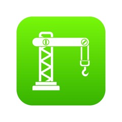 Crane icon digital green for any design isolated on white vector illustration