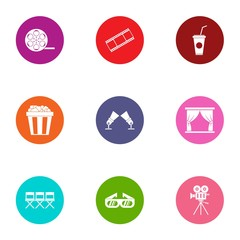 Moving pictures icons set. Flat set of 9 moving pictures vector icons for web isolated on white background