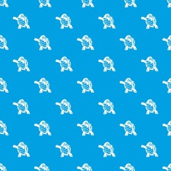 Dancing turtle pattern vector seamless blue repeat for any use