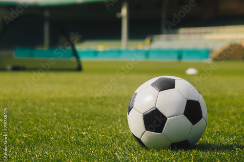 4354c3091 Soccer Ball on Green Grass with Stadium Background. Football Soccer  Training Equipment; Football Ball and Goal on a Football Field.