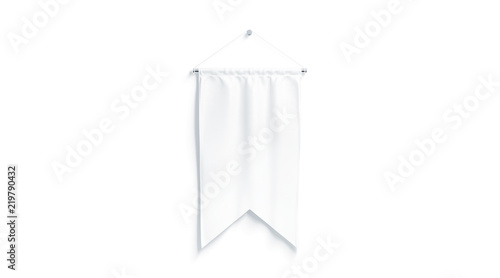 Blank white rectangle pennant with two corners mockup, 3d