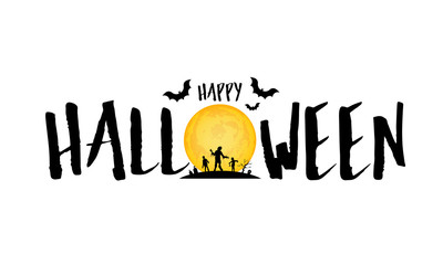 Happy Halloween lettering design. Holiday calligraphy with moon and zombie. Illustration isolated on white background. For poster, banner, greeting card, invitation.