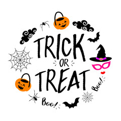 Trick or Treat lettering design. Holiday calligraphy with Halloween elements in circle shape. Vector illustration isolated on white  background. For poster, banner, greeting card, invitation.