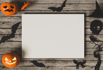 Halloween holiday poster mock up template with pumpkin jack-o-lantern. View from above. 3D render