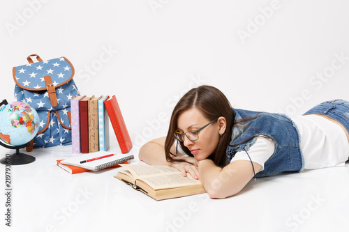 Young Calm Beautiful Woman Student In Denim Clothes And