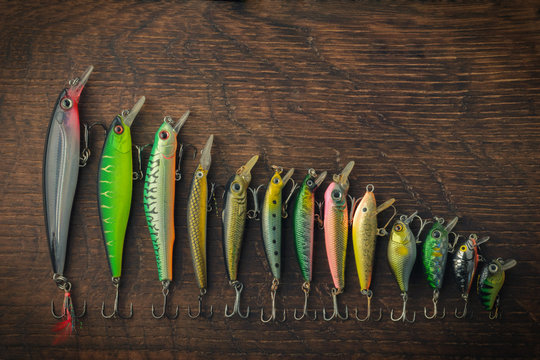 Fishing lures of different lengths laid out in descending order