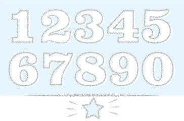 Set of numbers: 1,2,3,4,5,6,7,8,9,0 with silver outline. Grey glitter texture effect. Decorative font for cute little prince(baby birthday invite). Doodle hand drawn blue star and lines. Xmas sale