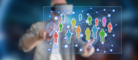 Man touching a social network concept