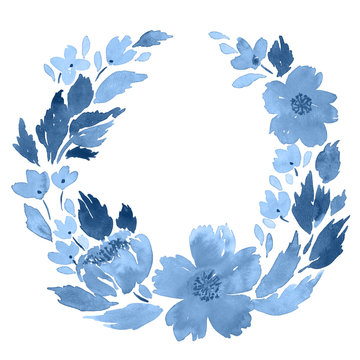 Loose watercolor floral wreath in indigo blue. Flowers and leaves arrangement template