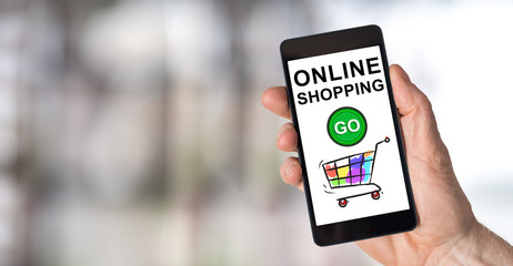 Online shopping concept on a smartphone
