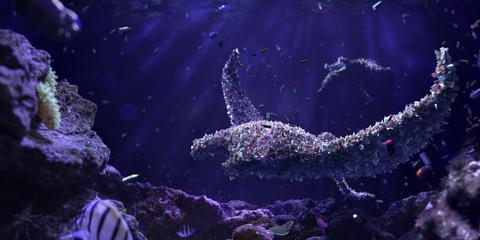 Wall Mural - Garbege devil-fish Environmental problem of plastic rubbish pollution in ocean