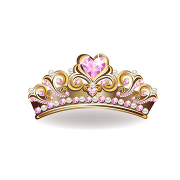 Crown of a princess with pearls and pink gemstones. Vector illustration.