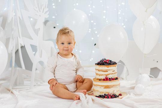 Portrait boy with birthday cake