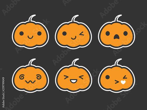 Cute Simple Kawaii Pumpkin Jack O Lantern Emoticon Faces Vector Ilration